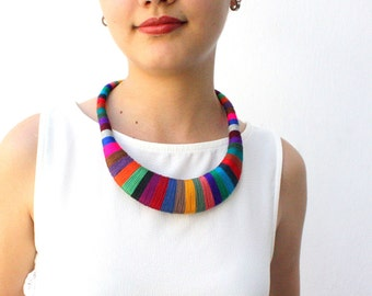 Agatha Statement necklace - dark colors, Multicolor necklace, Tribal Necklace, Thread Wrapped Necklace, African Necklace, tribal necklace