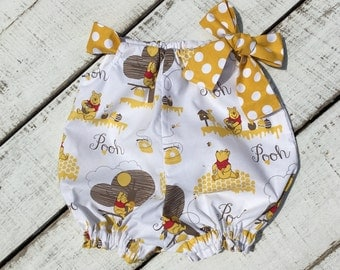 Winnie-the-Pooh Romper, Baby Shower Gift, Baby Sun Suit, Baby Bubble Romper