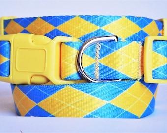 Dog Collar and Leash (optional)- Adjustable Boy Dog Collar - Blue and Yellow Argyle Dog Collar - Large Dog Collar - Small Dog Collar