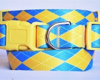 Adjustable Dog Collar-Boy Dog Collar - Blue and Yellow Argyle Dog Collar - Large Dog Collar - Small Dog Collar - Preppy Dog Collar