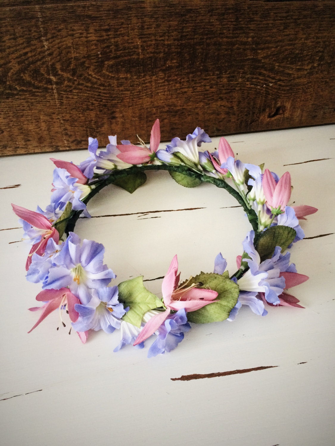 Light Blue Flower Crown Flower Crown With Light Blue And Pink