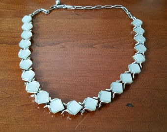 Vintage Coro Lucite Pearly Blue Thermoset Necklace