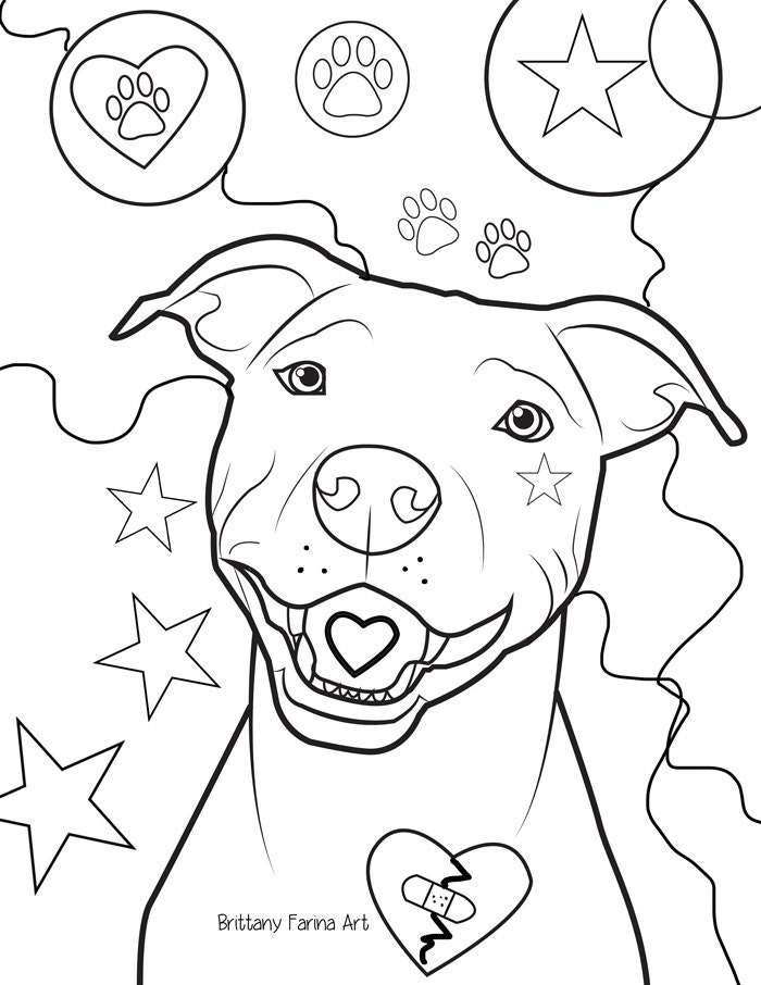 Pitbull coloring page coloring page for Selling coloring pages on etsy