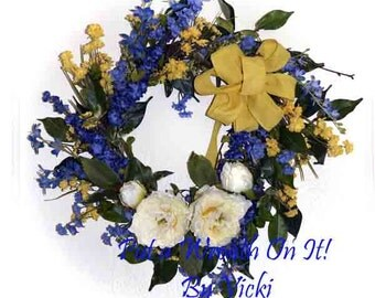 Blue Yellow and White Spring Summer Floral wreath