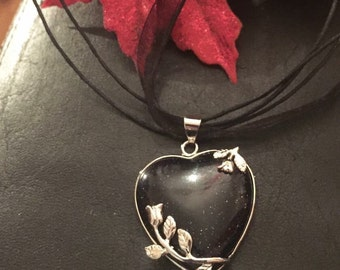 Goldstone silver leaves heart pendant on black organza ribbon necklace