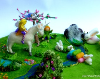 UNICORN PLAYSCAPE and FAIRYLAND© Your Children made as Fairies befriending: Bunnies and a Bluebird of Happiness in a utopian Fairyland.