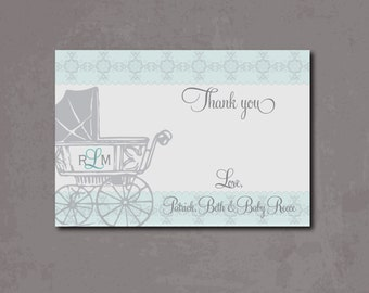 Vintage Baby Thank you Note/Digital File/carriage note, carriage thank you, vintage notecard, boy thank you note, blue and gray, baby shower