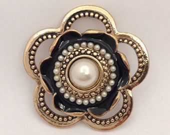 Black and gold flower pendant for jewelry making with faux pearl centre