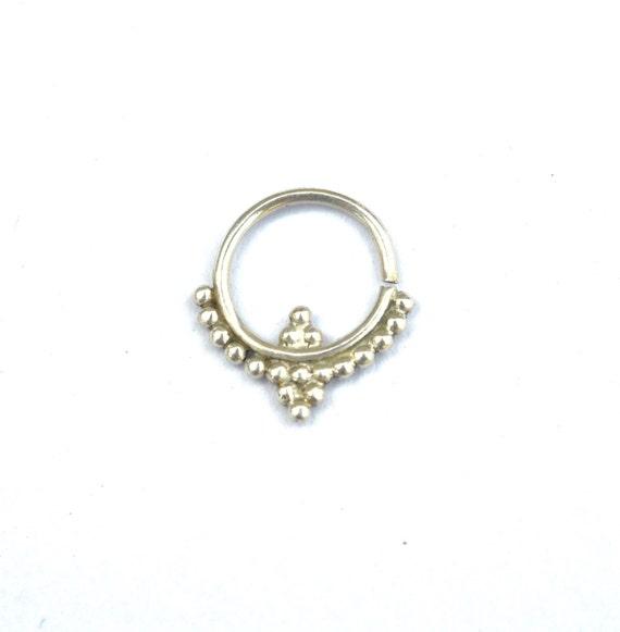 silver septum ring tribal septum ring real septum by