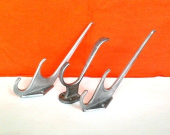 Set of 3 Soviet vintage duralumin clothes hooks, hangers / Made in USSR , 1970s