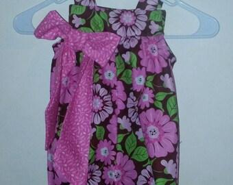 Baby Romper, Flower Romper, Pink Romper, Pink Bow