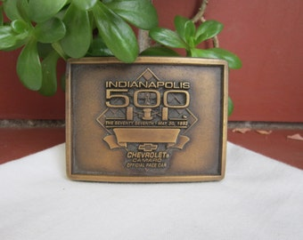 Indianapolis 500 Camaro Pace Car 1993 Belt Buckle Vintage Chevy Solid Brass Mens Accessory Collectible - Acc023