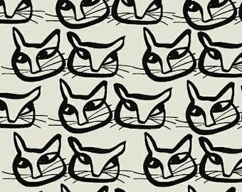 "Last 17"" - Black Cat Fabric - Hemma by Lotta Jansdotter for Windham Fabrics - Mirre in Ebony - Fabric by the Half Yard"