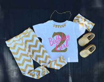 Second Birthday Outfit Set, Pink, Birthday Girl Outfit, Girls Outfits,Gold Chevron,Gold Glitter Outfits,Gold Glitter,Leggings,Headband,Shirt