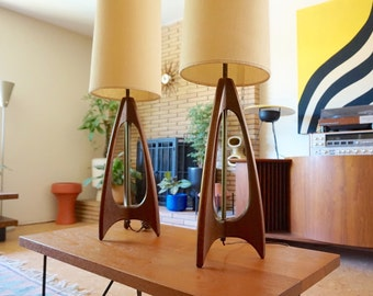 Walnut Rocket Lamps.