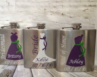 Bridesmaid Flasks, Bridesmaid Gift, Wedding Flask