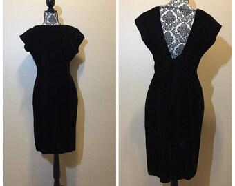 Vintage Black Velvet Short Dress - 80s Party Dress, LBD