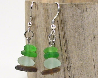 Multicolor Seaglass Earrings - Beach Jewelry - Sea Glass Jewelry Bohemian Chic Sterling Silver