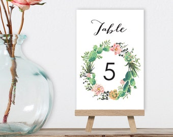 Rustic Wedding Table Numbers DIY Printable PDF / Cactus Succulent, Coral Flower, Fiesta / Guest Seating / 1 to 40 ▷ Instant Download
