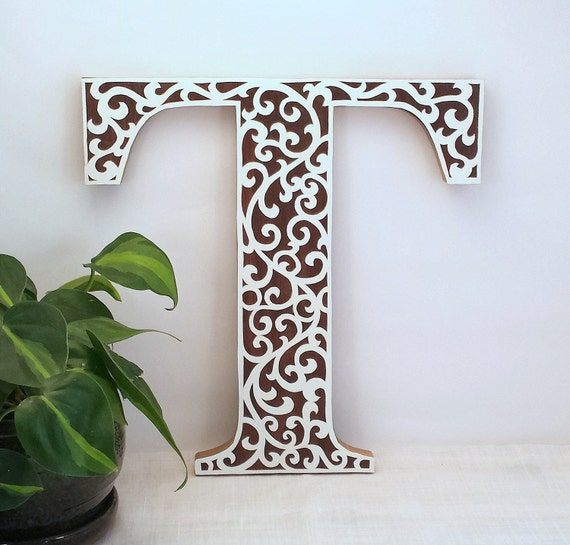 Letter t wooden initial wall letter wood letter wall decor - Wood letter wall decor ...