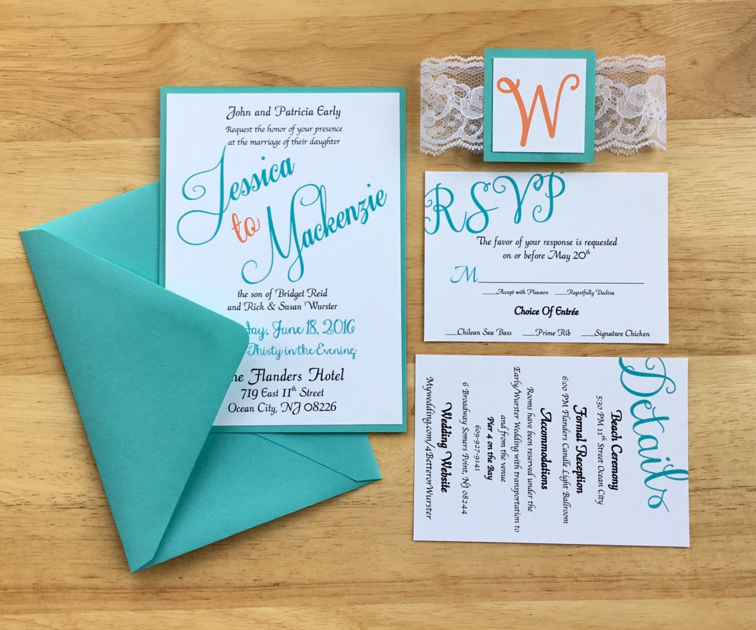 Beach Themed Wedding Invitations Templates: Teal & Coral Wedding Invitations Beach Theme Summer Themed