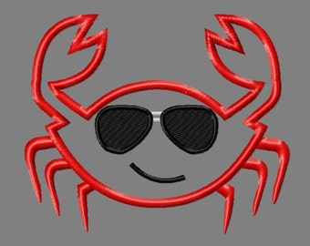 Buy 3 get 1 free! Crab boy applique embroidery design, Crab with sunglasses, cool crab, summer, 5x7 4x4