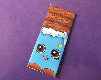 Cheeky Chocolate Wrappers BLUE - Shopkins Birthday Day Party