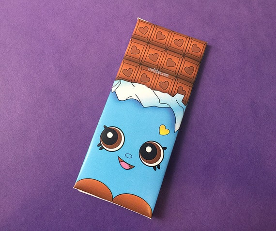 Cheeky Chocolate Wrappers BLUE Shopkins Birthday Day Party