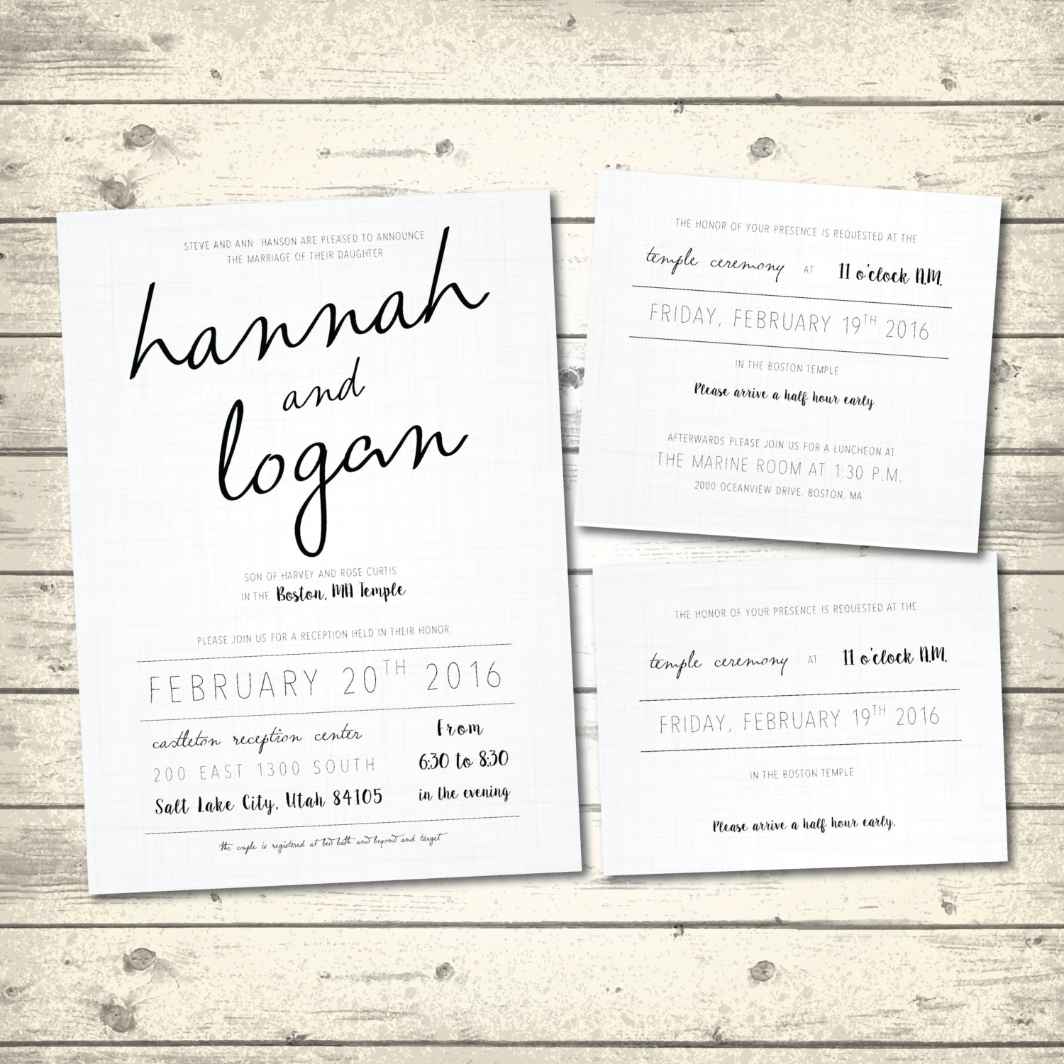Simple Rustic Wedding Invitation Linen White By