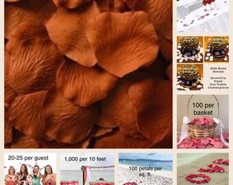 500 Copper Rose Petals - Silk Rose Petals for Weddings