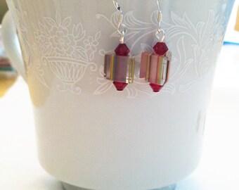 Cane Glass Earrings