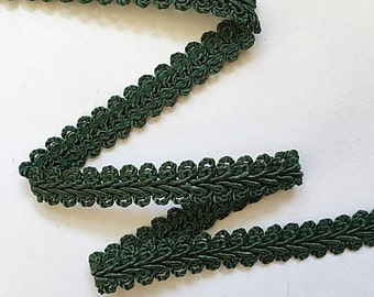 "French Gimp -  1/2"" Dark Green Flat Trim - Renaissance Faire - Victorian"
