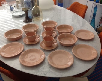 Large lot of Fiesta Homer laughlin Fiestaware Bowls Cups & Saucers and Side Plates Retro Vintage Mid Century Modern Dinnerware Peach Pink