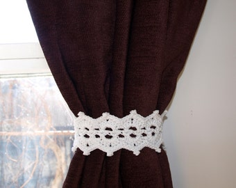 White lace tiebacks with button Crochet curtain tie back Pair of drapery tie backs Decorative curtain tiebacks Rustic tie backs Window ties