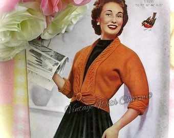 Vintage 1950s Knitting Pattern Copy For A Lady's Fancy Collar & Cuffs Jacket. 5 Sizes