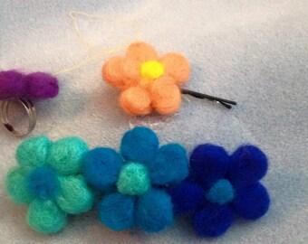 Needle felted flower hair barette, flower hair clip, fairy hair slide