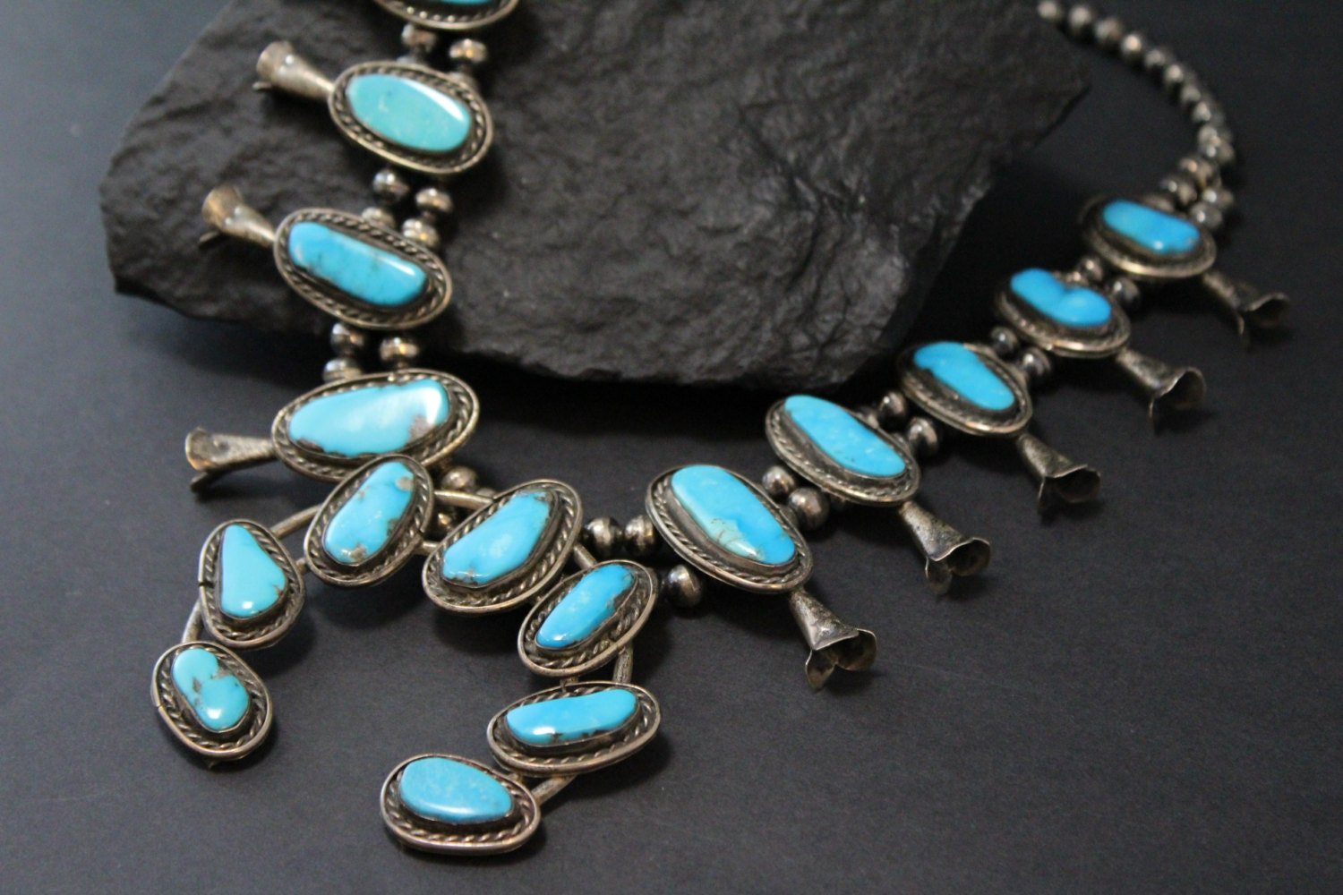 Old pawn turquoise necklace sterling silver squash for Southwestern silver turquoise jewelry