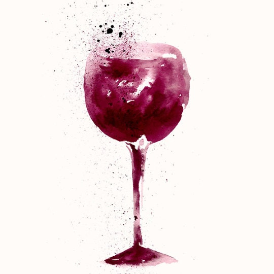 Amazing Watercolor Illustration With Wine Glass Fine Art