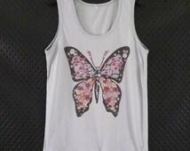 Butterfly tank top old gray shirt flower tee size S M L XL summer clothing/ men women t shirt