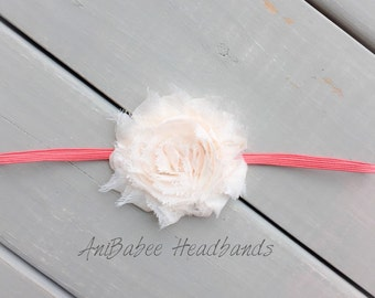 Pale peach flower headband, shabby flower baby headband, flower headband, baby headband, infant headband