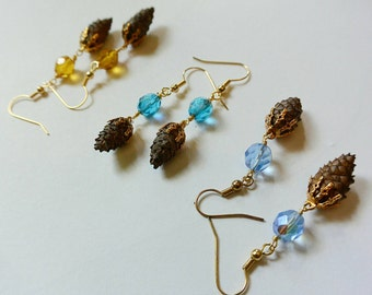 Tiny Pinecone Dangle Earrings- made with real teeny tiny pinecones! Adorable! Super cute!