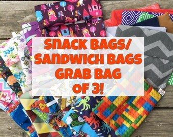 Snack Bags, Sandwich Bags, Reusable Snack Bags, Grab Bag of 3!