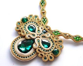 Bollywood Necklace, Soutache Necklace, Emerald Necklace, Wedding Necklace, Statement Necklace, Soutache Bijoux, Shiny Necklace, Elegant Gift