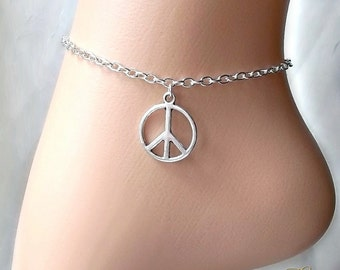 Peace Sign Anklet, Ankle Chain, Ankle Bracelet, Silver Anklet, Body Jewelry, Foot Chain, Charm Anklet, Peace Charm, Boho Jewellery, Hippie