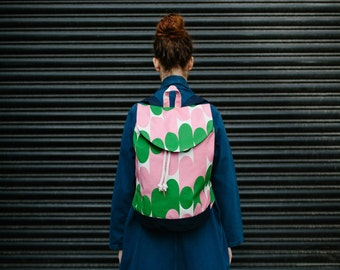 Rucksack / Pink & Green 'Milkky' design - bright, bold and colourful printed backpack