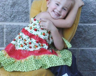 Washington Apple Dress // OOAK // PinkPomPon - Back to school outfit,  fall toddler clothes, toddler knot dress, ruffle embellished jeans
