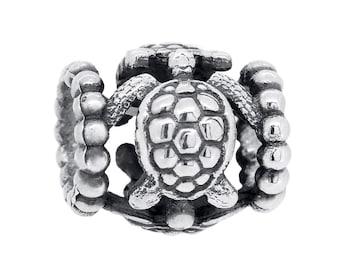 Sea Turtle Charm Bead #024 - Fits Pandora Charm Bracelets, Sterling Silver, 9 Carat Gold