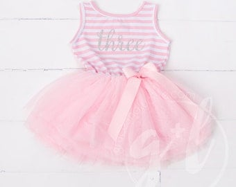 Third birthday outfit dress with silver letters and pink tutu for girls 3rd birthday