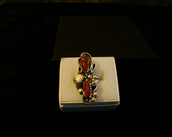 Vintage 1990's Navajo handcrafted  Deep Red Italian coral ring, signed Angela sterling
