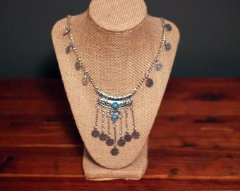 The Gypsy's Coins: Silver Coin Turquoise Boho Tribal Pendant Necklace